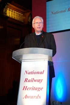 Waterman OBE addresses the audience at the award ceremony for the 2010 National Railway Heritage Awards on 1 December 2010